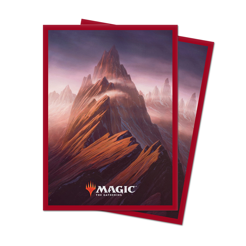 STANDARD SIZE SLEEVES -  MTG UNSTABLE LANDS - MOUNTAIN (100)