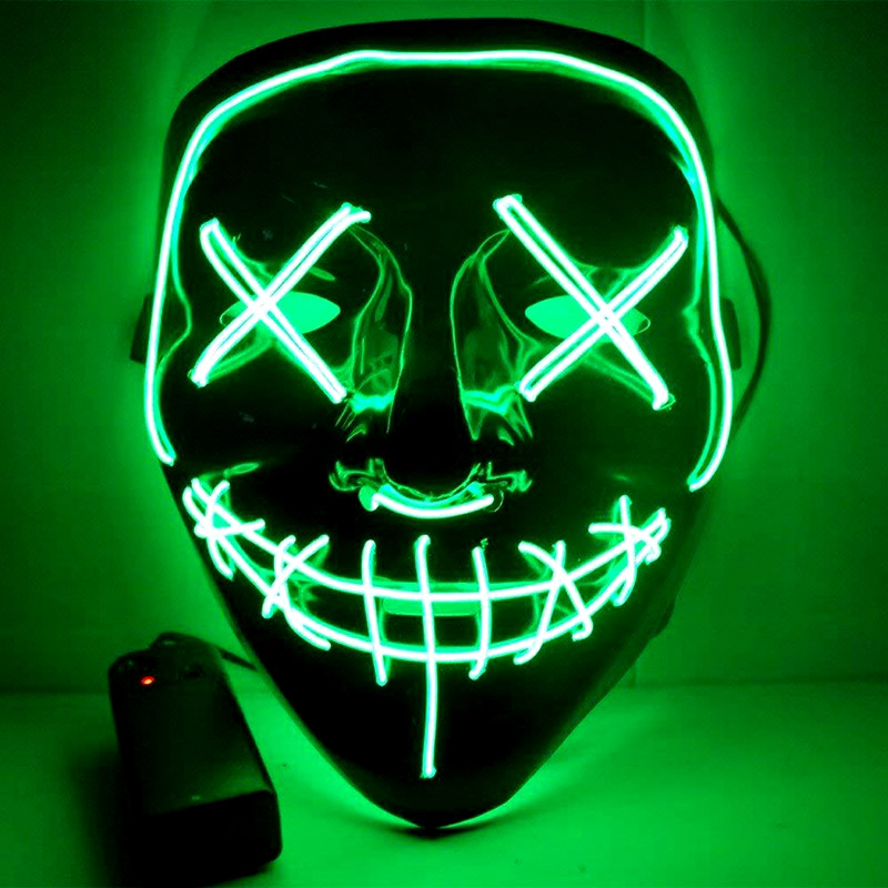 THE PURGE -  ILLUMINO BLACK MASK WITH GREEN STRING (ADULT)