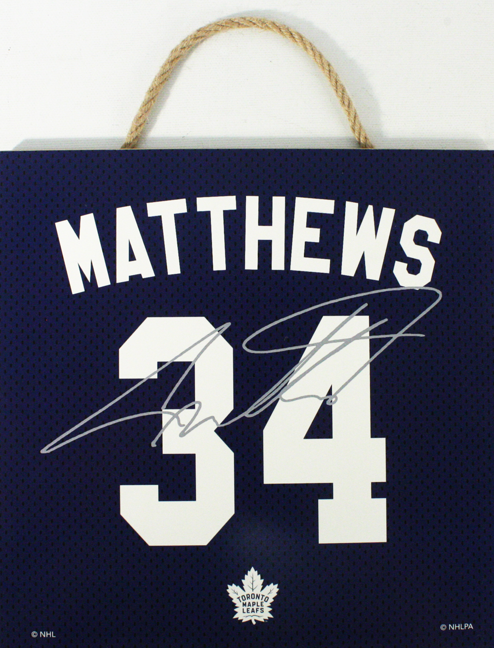 TORONTO MAPLE LEAFS -  AUSTON MATTHEWS #34 AUTOGRPAHED WOODEN PLAQUE (10