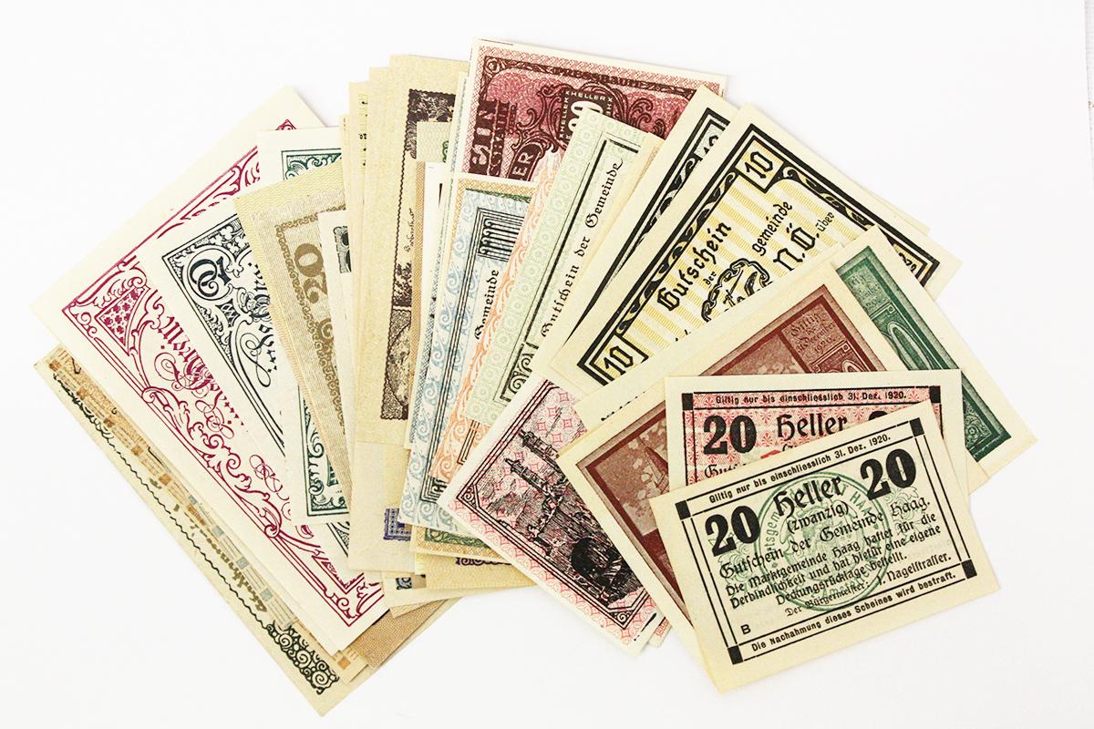 WORLD PAPER MONEY - 50 NEW DIFFERENT AUSTRIA NOTGELD PAPER MONEY SET