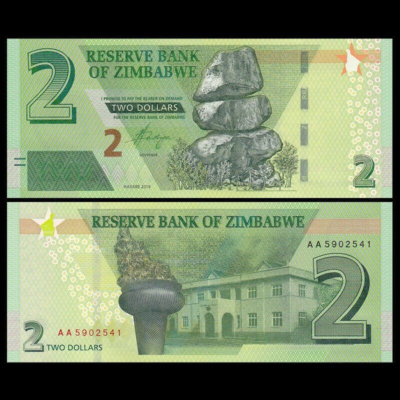 ZIMBABWE -  2 DOLLARS 2019 (UNC)