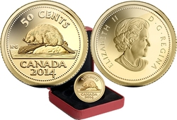 1/25 OZ IN GOLD -  CANADA'S CLASSIC BEAVER -  2014 CANADIAN COINS 12