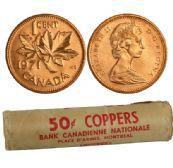 1-CENT -  1971 1-CENT ORIGINAL ROLL -  1971 CANADIAN COINS