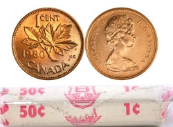 1-CENT -  1980 1-CENT ORIGINAL ROLL -  1980 CANADIAN COINS