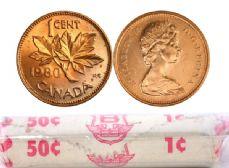 1-CENT -  1980 1-CENT ORIGINAL ROLL -  1980 CANADIAN COINS