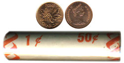 1-CENT -  1981 1-CENT ORIGINAL ROLL -  1981 CANADIAN COINS