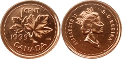 1-CENT -  1999 1-CENT - PROOF-LIKE (PL) -  1999 CANADIAN COINS