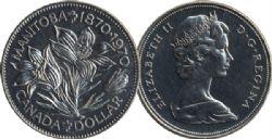 1-DOLLAR -  1970 1- DOLLAR - MONITOBA CENTENNIAL - BRILLIANT UNCIRCULATED (BU) -  1970 CANADIAN COINS