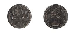 1-DOLLAR -  1979 1- DOLLAR - VOYAGEUR - BRILLIANT UNCIRCULATED (BU) -  1979 CANADIAN COINS
