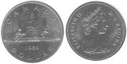 1-DOLLAR -  1980 1- DOLLAR - VOYAGEUR - BRILLIANT UNCIRCULATED (BU) -  1980 CANADIAN COINS