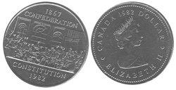 1-DOLLAR -  1982 1-DOLLAR - CONSTITUTION - BRILLIANT UNCIRCULATED (BU) -  1982 CANADIAN COINS
