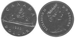 1-DOLLAR -  1983 1-DOLLAR - VOYAGEUR - BRILLIANT UNCIRCULATED (BU) -  1983 CANADIAN COINS