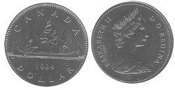 1-DOLLAR -  1984 1-DOLLAR - VOYAGEUR - BRILLIANT UNCIRCULATED (BU) -  1984 CANADIAN COINS