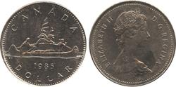 1-DOLLAR -  1985 1-DOLLAR - VOYAGEUR - BRILLIANT UNCIRCULATED (BU) -  1985 CANADIAN COINS