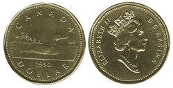 1-DOLLAR -  1990 1-DOLLAR - BRILLIANT UNCIRCULATED (BU) -  1990 CANADIAN COINS