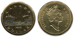 1-DOLLAR -  1995 1-DOLLAR - BRILLIANT UNCIRCULATED (BU) -  1995 CANADIAN COINS