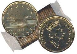 1-DOLLAR -  1996 1-DOLLAR ORIGINAL ROLL -  1996 CANADIAN COINS