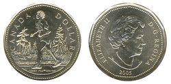 1-DOLLAR -  2005 1-DOLLAR - TERRY FOX - HALF GRASS - BRILLIANT UNCIRCULATED (BU) -  2005 CANADIAN COINS