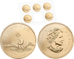 1-DOLLAR -  2012 1-DOLLAR - LUCKY LOONIE - SET OF FIVE COINS -  2012 CANADIAN COINS
