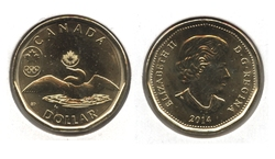 1-DOLLAR -  2014 1-DOLLAR - LUCKY LOONIE - BRILLIANT UNCIRCULATED (BU) -  2014 CANADIAN COINS 06