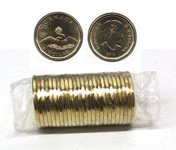 1-DOLLAR -  2014 1-DOLLAR ORIGINAL ROLL - LUCKY LOONIE -  2014 CANADIAN COINS