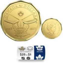 1-DOLLAR -  2017 1-DOLLAR ORIGINAL ROLL - 100TH ANNIVERSARY OF THE TORONTO MAPLE LEAFS(TM) (SPECIAL WRAPPING) -  2017 CANADIAN COINS