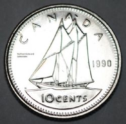 10-CENT -  1990 10-CENT - BRILLIANT UNCIRCULATED (BU) -  1990 CANADIAN COINS