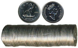 10-CENT -  1993 10-CENT ORIGINAL ROLL -  1993 CANADIAN COINS