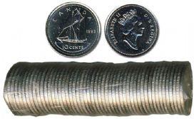 10-CENT -  1993 10-CENT ORIGINAL ROLL -  1993 CANADIAN COINS