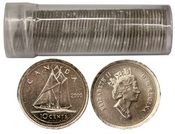 10-CENT -  2000 10-CENT - 50 COINS PACK - BRILLIANT UNCIRCULATED (BU) -  2000 CANADIAN COINS