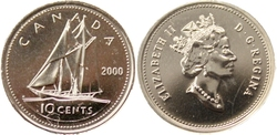 10-CENT -  2000 10-CENT - PROOF-LIKE (PL) -  2000 CANADIAN COINS