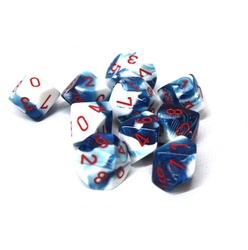 10 DICE, 10-SIDERS, ASTRAL BLUE/WHITE WITH RED NUMBERS -  GEMINI