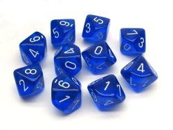 10 DICE, 10-SIDERS, BLUE / WHITE -  TRANSLUCENT