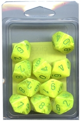 10 DICE, 10-SIDERS, ELECTRIC YELLOW WITH GREEN -  VORTEX