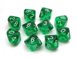 10 DICE, 10-SIDERS, GREEN / WHITE -  TRANSLUCENT
