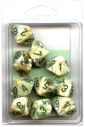 10 DICE, 10-SIDERS, GREEN WITH DARK GREEN -  MARBLE