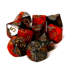 10 DICE, 10-SIDERS, ORANGE/STEEL WITH GOLD NUMBERS -  GEMINI
