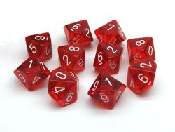 10 DICE, 10-SIDERS, RED / WHITE -  TRANSLUCENT