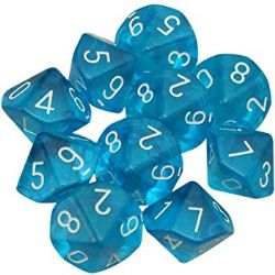 10 DICE, 10-SIDERS, TEAL / WHITE -  TRANSLUCENT