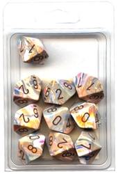 10 DICE, 10-SIDERS, VIBRANT WITH BROWN -  FESTIVE