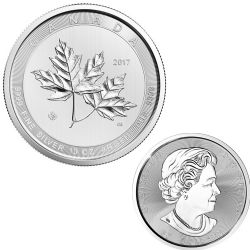 10 OUNCES FINE SILVER COIN - MAGNIFICENT MAPLE LEAVES -  2017 CANADIAN COINS
