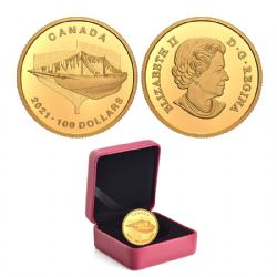 100 DOLLARS -  100TH ANNIVERSARY OF BLUENOSE: THE LAUNCH -  2021 CANADIAN COINS 46