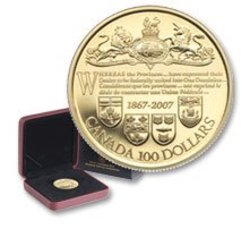 100 DOLLARS -  140TH ANNIVERSARY OF THE DOMINION OF CANADA -  2007 CANADIAN COINS 32