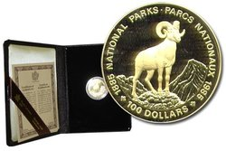 100 DOLLARS -  NATIONAL PARKS CENTENARY -  1985 CANADIAN COINS 10