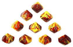 10D10, RED/YELLOW WITH SILVER NUMBERS -  GEMINI