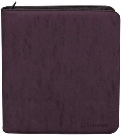 12-POCKET PORTFOLIO -  20 PAGES - PRO-BINDER - 480 - SUEDE AMETHTYS - WITH ZIPPER