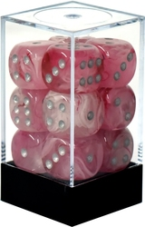 12D6 16MM PINK WITH SILVER NUMBERS -  GHOSTLY GLOW