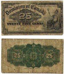 1900 -  1900 25-CENT NOTE, BOVILLE (VG)