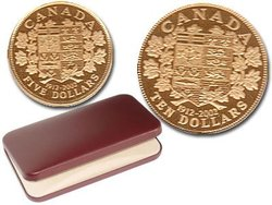 1912-2002 COMMEMORATIVE SET - 5$ AND 10$ 0.900 GOLD COINS -  2002 CANADIAN COINS