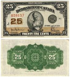 1923 -  1870 25-CENT NOTE, HYNDMAN/SAUNDERS (AU)
